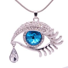 Hot sale 2017 delicate beautiful crystal jewelry silver Evil eye Devil's tears mosaic zircon necklace&pendant for women NN050