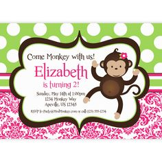 Mod Monkey Invitation Pink Damask and Green Polka Dots.  Perfect for your little girl!