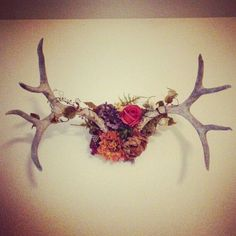 Antler Wall Art / Floral Antler / Deer Antlers / Antler Decor / Interior Design