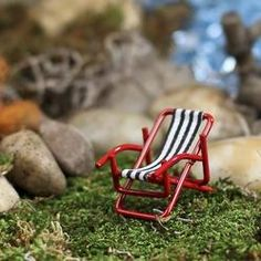 Dollhouse Miniature Beach Lounge Chair - Miniatures - View All - Dollhouse Miniatures - Doll Making Supplies - Craft Supplies Garden Lounge Chairs, Beach Lounge Chair, Beach Chairs, Fairy Garden Supplies, My Fairy Garden, Fairy Gardens, Garden Stream, Dollhouse Accessories, Craft Sale