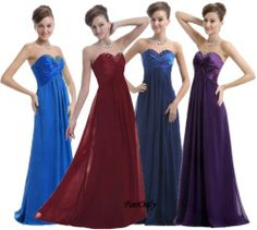 FairOnly Sweetheart Chiffon Long Bridesmaid Dresses Prom Gown Stock Size 6-16