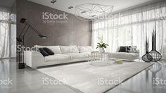 Interior de diseño moderno con un sofá de renderizado 3D blanco – fotografía de stock libre de derechos