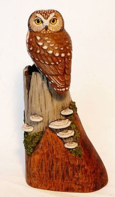 Miniature Saw-whet Owl carving - Artwork by Tim McEachern.