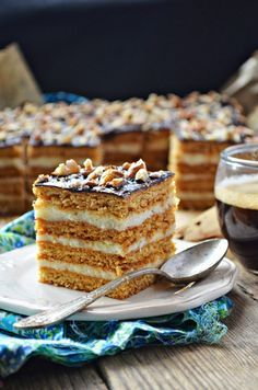 Honey Cake with Creamy Semolina (Stefanka) Polish Desserts, Honey Cake, Piece Of Cakes, Cupcake Cakes, Cupcakes, No Bake Cake, Cake Recipes, Sweet Treats, Cooking Recipes