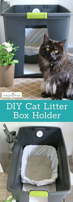A DIY Cat Litter Box Holder is a simple homemade way to hide a kitty litter box. Give your cat's space a fresh makeover! Home hidden litter container. DIY Home Idea for Pets. #catlitterboxtips