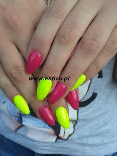 gel nails neon manicure neon nails