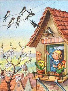 Vintage Pictures, Vintage Images, Vintage Art, Art And Illustration, Easter Pictures, Postcard Art, Vintage Comics, Vintage Christmas Cards, Vintage Girls