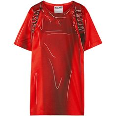 Moschino Printed stretch-satin T-shirt dress (4.655 DKK) ❤ liked on Polyvore featuring dresses, red dress, red print dress, print dress, moschino dress and pattern dress