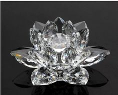 Free shipping 10cm transparent  crystal Lotus decoration crystal gifts crafts Christmas gifts