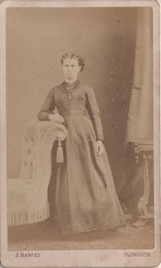 CDV photo of a victorian lady taken in Plymouth around 1870s by John Hawke at his studio located at 8 George Street.