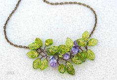 Leaf necklace/Amethyst necklace/Gemstone necklace/Wire by Ianira