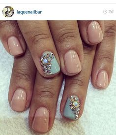Nude and light blue with rhinestones nails natural gel short