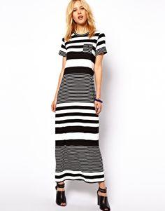 Image 1 ofASOS Maxi Dress In Graduated Stripe Print