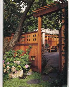 Craftsman Fence using Clear cedar entaining small space patio