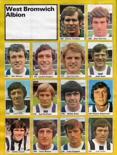 West Brom team stickers in West Bromwich Albion Fc, Tony Brown, Football Team, 1970s, Soccer, Stickers, Football Soccer, Nostalgia, Futbol