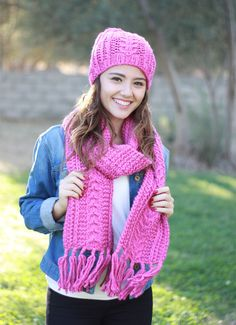 Women Hat Scarf Set, Matching knit scarf hat set, Fuschia scarf hat set, Matching set scarf and hat  It is great gift for any teen or adult women. It contains Fuschia shades.  The hat fits to an average hat.  The dimension of the scarf : 82 x 6.5 (225 cm. x 16 cm.) - including fringes  This amazing accessory is made up with a high quality yarn, 100% acrylic. ************************************************************ To view more scarf-hat, cowl-hat from my shop…