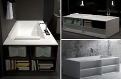 As a practical small-space solution, the Keops Evolution bathtub is a brilliant way to keep your favorite things close by. It boasts drawers for towels and washcloths, shelves for candles and bath products and a sliding door for hiding less-attractive accessories like razors and mustache bleaching kits. Integrated jets and optional backrests ensure that every bath is a serene experience.