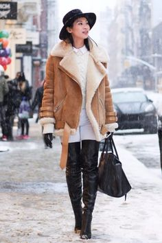 Pin for Later: Real-Life Proof That a Shearling Jacket Is This Season's Must Have