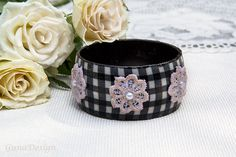 Textile Bangle Bracelet with Lace and Beads by by gunadesign