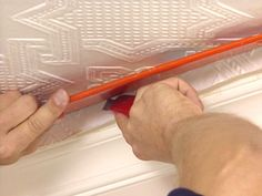 How to apply embossed wallpaper ceiling treatment - kitchen, should be cheaper than tin tiles, easier than taping and sanding existing cracked drywall