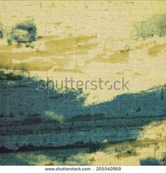 retro grunge old paper with clouds and sea - stock photo