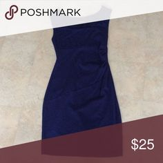 Navy Blue dress Navy Blue Dress cinched at the waist. Express Dresses Midi