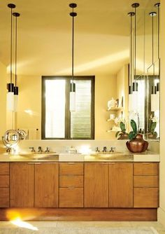 Nice warm tone for the bathroom -  Beach Bathroom by Terry Hunziker Inc. and Olson Kundig Architects in Los Cabos, Mexico