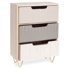 SCOOP wooden 3-drawer box, H35 cm