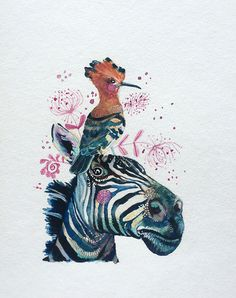 A personal favorite from my Etsy shop https://www.etsy.com/listing/255245233/zebra-and-hoopoe-print-animal-art