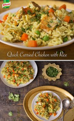 Try our creamy, flavor packed Quick Curried Chicken with Rice recipe! Puree yogurt, cilantro, oil & curry powder in blender. Reserve half for later. Combine remaining sauce with chicken in a bowl. Heat up a skillet & cook chicken, stirring occasionally, until chicken is fully cooked, about 5 mins. Remove chicken & set aside. Add 2 cups water, Knorr® Rice Sides™ Chicken Broccoli, peas & carrots. Prepare to package directions. Finally, top with chicken and extra sauce and serve.