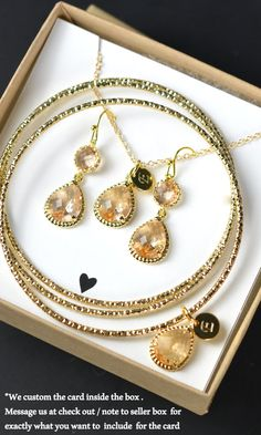 Bridesmaid jewelry,Bridal bangle bracelet Wedding Dangle Earrings Bridal Jewelry gold Peach champagne Drop Earring bracelet  Bridesmaid Gift