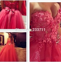 Gorgeous Tull Lace Sweetheart Backless Ball Gown Rose Red Evening Dresses Long 2017 Vestidos De Noite k54298