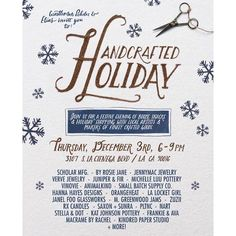 Please join us this Thursday evening for a Handcrafted Holiday!