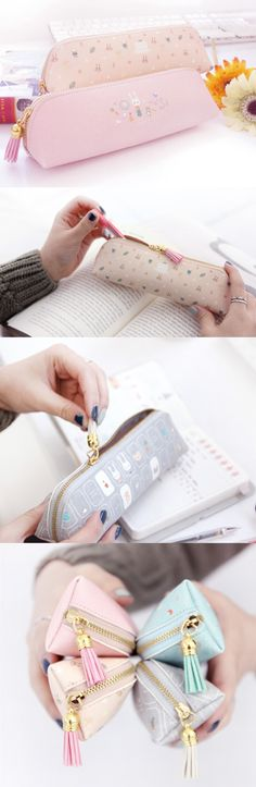Perfect combination of lovely pastel color illustration, cute tassel and spacious compartment! Pencil Bags, Pencil Pouch, Cute Pencil Case, Cute Stationary, Cute Pens, Cute School Supplies, Kawaii Stationery, Pen Case, Organizer