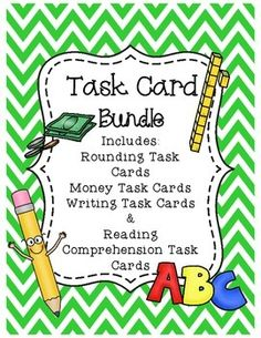 Task Card Bundle -- Math and LiteracyDownload these task cards, print, and laminate for year after year use in your classroom.This is a bundle of my task card sets;Money Task CardsRounding Task CardsWriting Task CardsReading Comprehension Task CardsThese sets are also sold separately in my store but are discounted in this HUGE bundle set.I hope you enjoy this product!Thank you for visiting my storeClick the following links to view some of my other products.