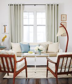 Great idea to cover the seat cushions in brown linen.  Perfect idea for my white couches...