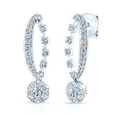 Maia Earrings- Drop Diamond Earrings 18K White Gold