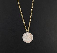 Disc Necklace Mixed Metal Textured Circle Necklace by WhisperLinks, $24.00
