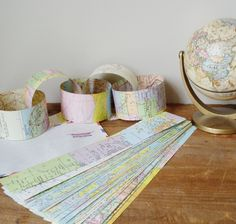 Paper Chain Kit Vintage Maps Bon Voyage Party DIY Garland Decoration $8.00