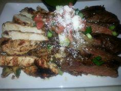 Veggie Quinoa with grilled chicken and steak at Mestizo Restaurant.