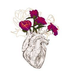 watercolor heart flowers - Google Search