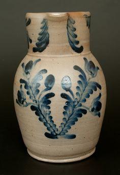 Lot 72. Baltimore Stoneware Pitcher w/ Elaborate Cobalt Floral Decoration, Two-Gallon -- March 1, 2014 Stoneware Auction by Crocker Farm, Inc.