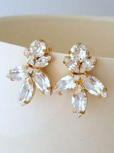 White clear diamond crystal Statement stud earrings by EldorTinaJewelry | http://etsy.me/1IdZ4zw