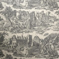 Alexander the Great Toile Fabric. A dramatic large scale classic toile design, adapted from an early century document. Printed on heavy linen in marl grey to give a contemporary look. Feature Marvic in your living room with F&P. Textiles, Alexander The Great, Grey Fabric, 17th Century, Fabric Design, Vintage World Maps, Contemporary, Country, Wallpaper