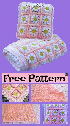 Best 12 [Free Pattern] This Crochet Blanket With Daisies Is Absolutely Gorgeous! – Knit And Crochet Daily – SkillOfKing. Crochet Daisy, Crochet Flower Patterns, Afghan Crochet Patterns, Crochet Motif, Crochet Flowers, Crochet Squares, Crochet Ideas, Granny Squares, Free Crochet