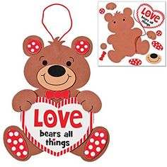 Amazon.com: Valentine's Day Bears Craft Kit | Picture Frame, Sweetheart Door Hanger, Love Sign & Ornament | Kids DIY Classroom Exchange DayCare Home School Art Project Gift Decoration | 4 Fun Boys & Girls Kits.: Toys & Games