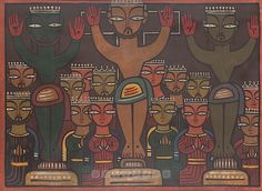 The Crucifixion by Jamini Roy. Oil on Canvas.