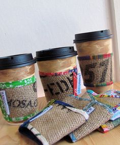 Mad For Plaid Upcycled Burlap and Fabric Coffee Cup Sleeve Set - Reversible Coffee Cuff  Pair - OOAK - Under 25. $19.50, via Etsy.