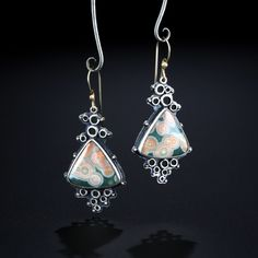 Ocean Jasper Earrings. Fabricated Sterling Silver and 14k Gold. www.amybuettner.com https://www.facebook.com/pages/Metalsmiths-Amy-Buettner-Tucker-Glasow/101876779907812?ref=hl https://www.etsy.com/people/amybuettner http://instagram.com/amybuettnertuckerglasow