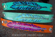 Hand painted Native American inspired leather cuff bracelets by Hopscotch Dandelions www.facebook.com/...
